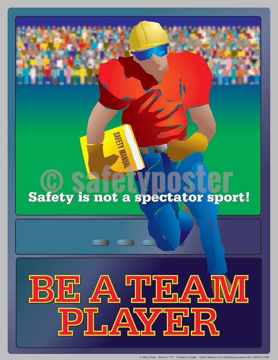 Be A Team Player - Safety Poster Cartoon Posters