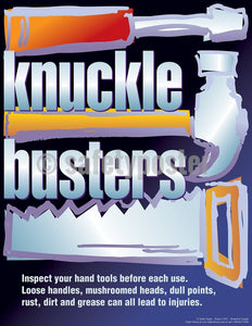 Knuckle Busters Inspect Your Hand Tools Before Each Use - Safety Poster Cartoon Posters Tool