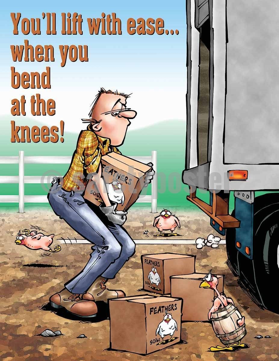Safety Poster - You'll Lift With Ease When You Bend At The Knees! - safetyposter.com