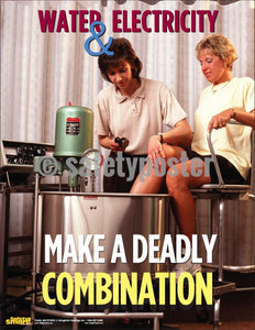 Safety Poster - Water & Electricity Make A Deadly Combination - safetyposter.com