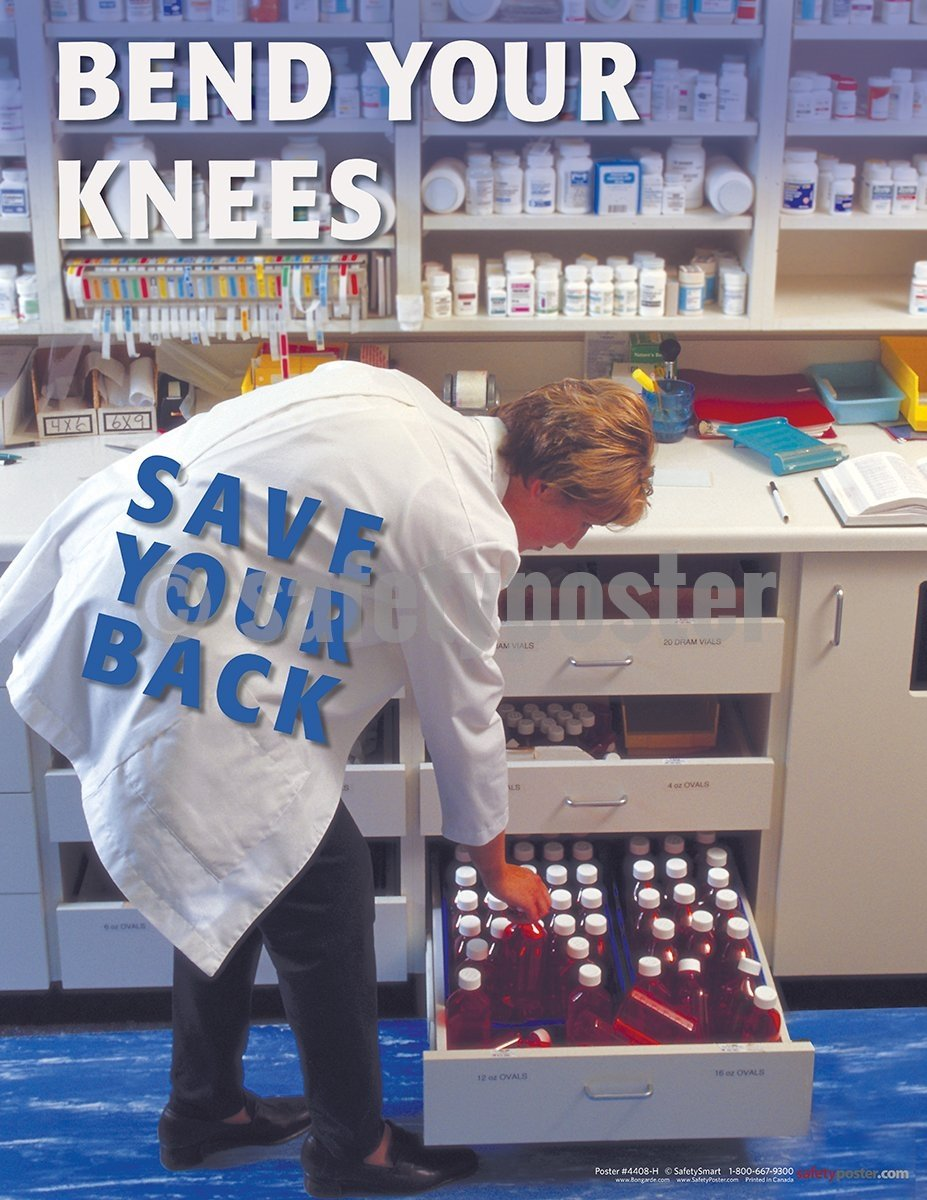 Bend Your Knees - Safety Poster Health & Wellness
