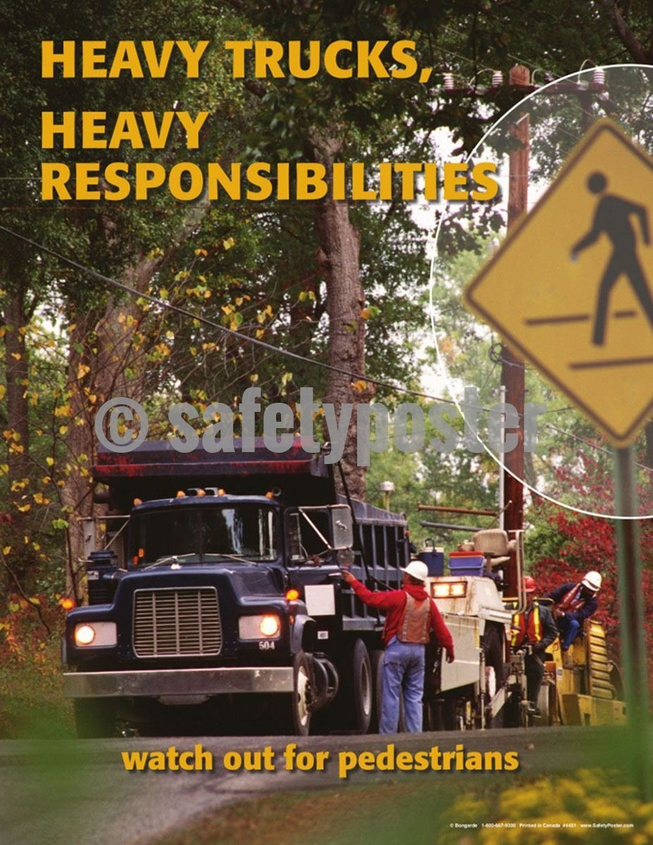 Safety Poster - Heavy Trucks Heavy Responsibilities - safetyposter.com