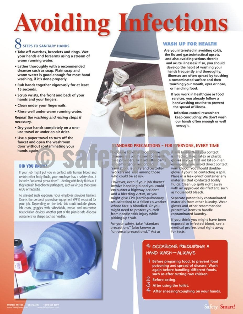 Safety Poster - Avoiding Infections Info - safetyposter.com