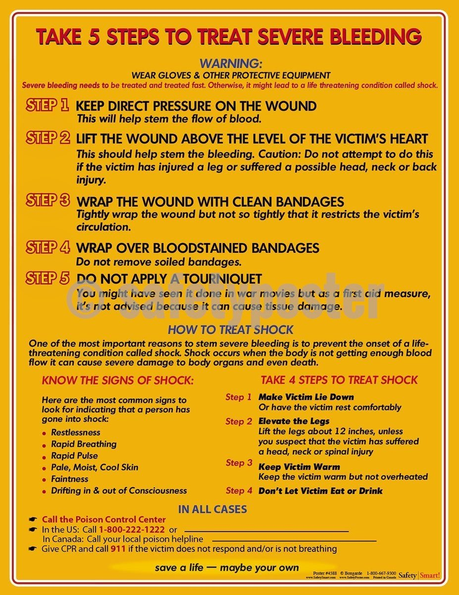 Safety Poster - Take 5 Steps To Treat Severe Bleeding - safetyposter.com