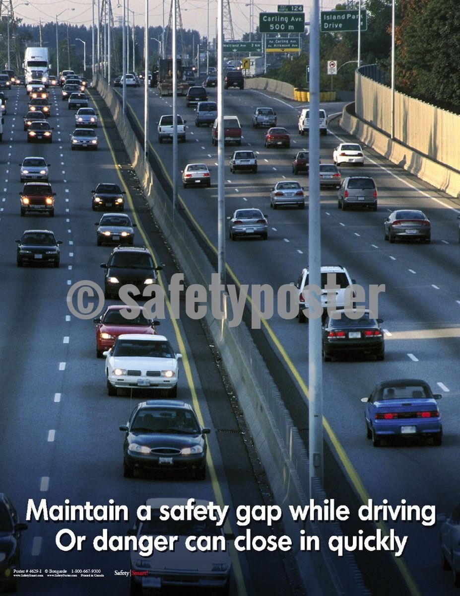 Safety Poster - Maintain A Safety Gap While Driving - safetyposter.com