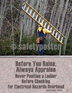 Safety Poster - Never Position A Ladder Before Checking - safetyposter.com