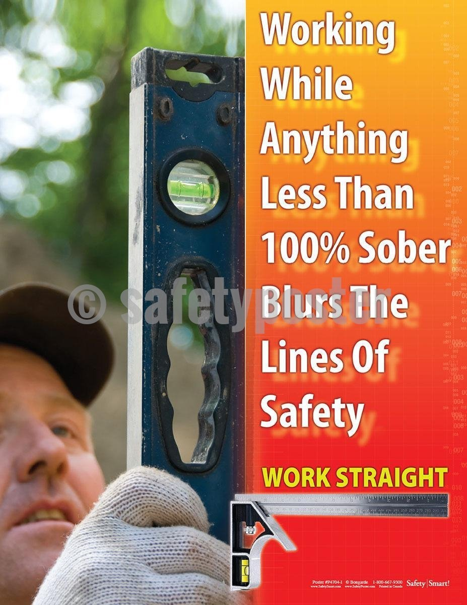 Safety Poster - Working While Anything Less Than 100% Work Straight - safetyposter.com