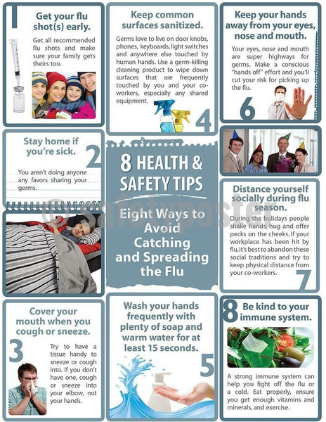Safety Poster - 8 Health & Safety Tips - safetyposter.com