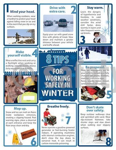 8 Tips For Working In Winter - Safety Poster Seasonal