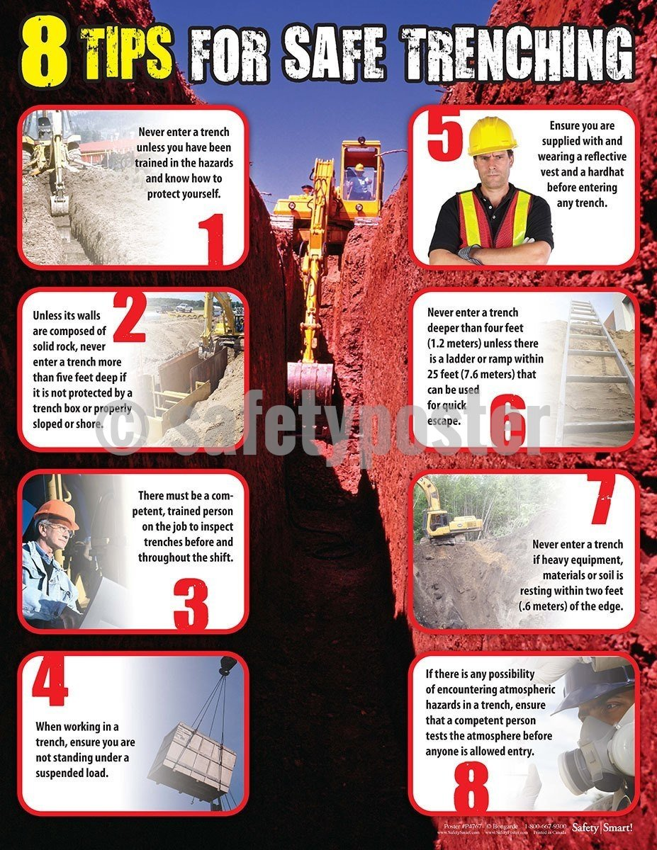 Safety Poster - 8 Tips For Safe Trenching - safetyposter.com