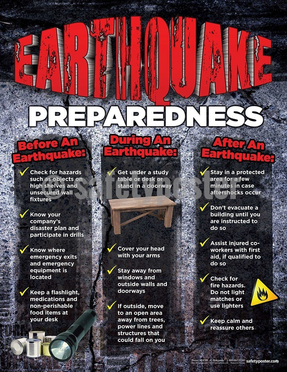 Safety Poster - Earthquake Preparedness - safetyposter.com
