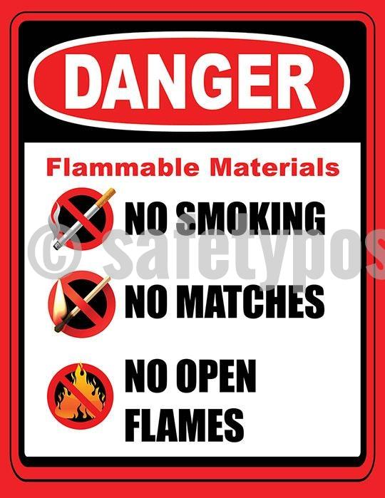 Danger Flammable Materials - Safety Poster Accident Prevention