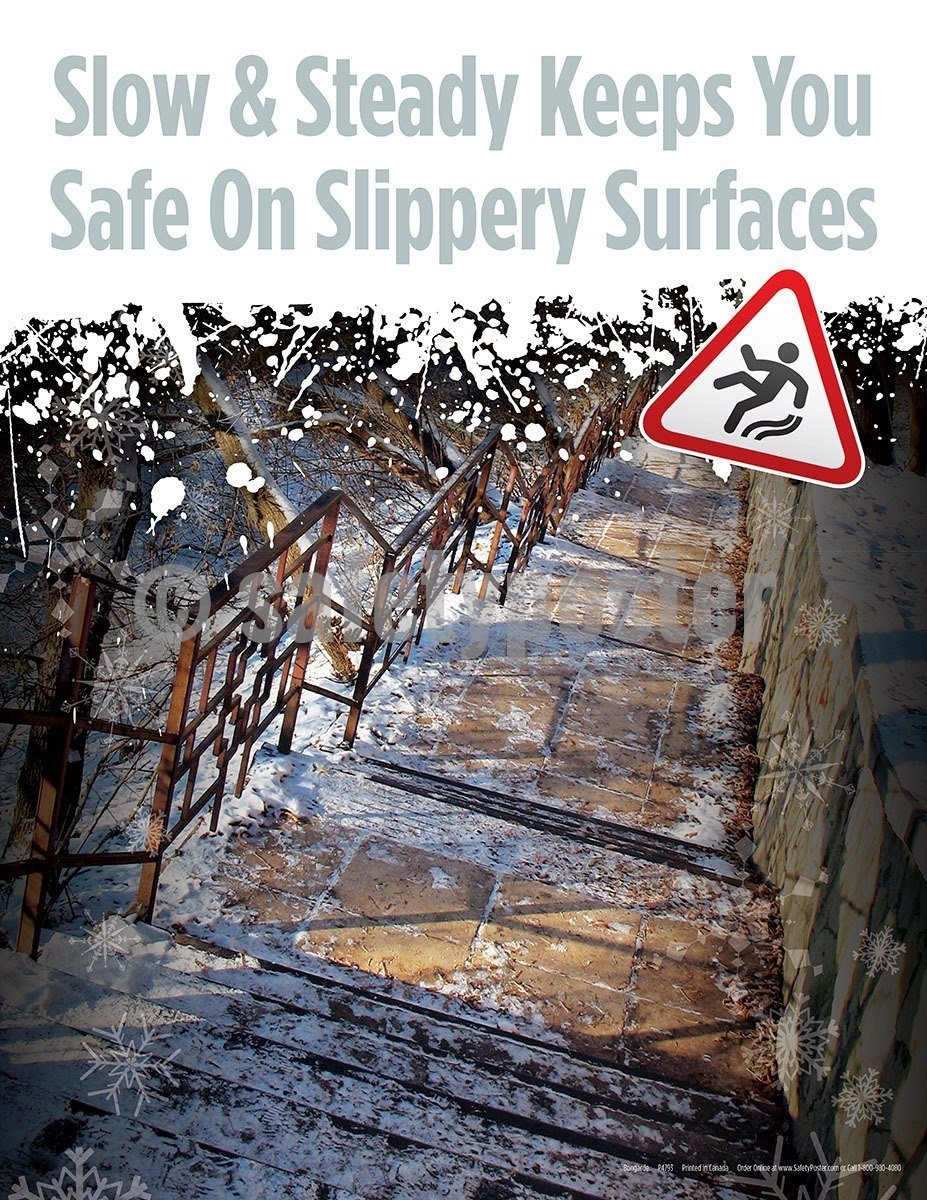 Safety Poster - Slow And Steady Keeps You Safe On Slippery Surfaces - safetyposter.com