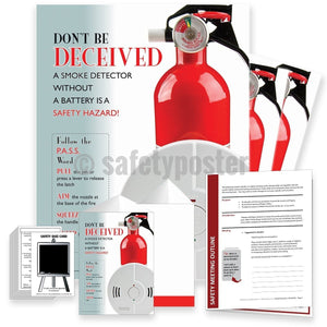 Safety Meeting Kit - A Smoke Detector Without A Battery Is A Safety Hazard - safetyposter.com