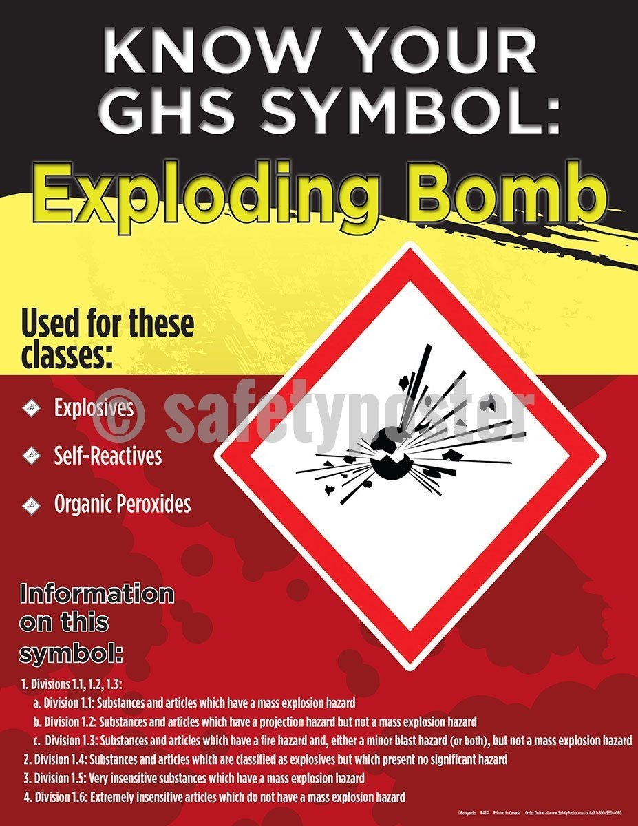 Safety Poster - Know Your GHS Symbol Exploding Bomb - safetyposter.com