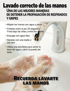 Proper Hand Washing - Spanish Safety Poster