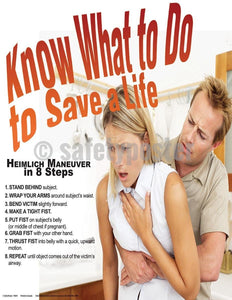 Safety Poster - Heimlich Maneuver In 8 Steps - safetyposter.com