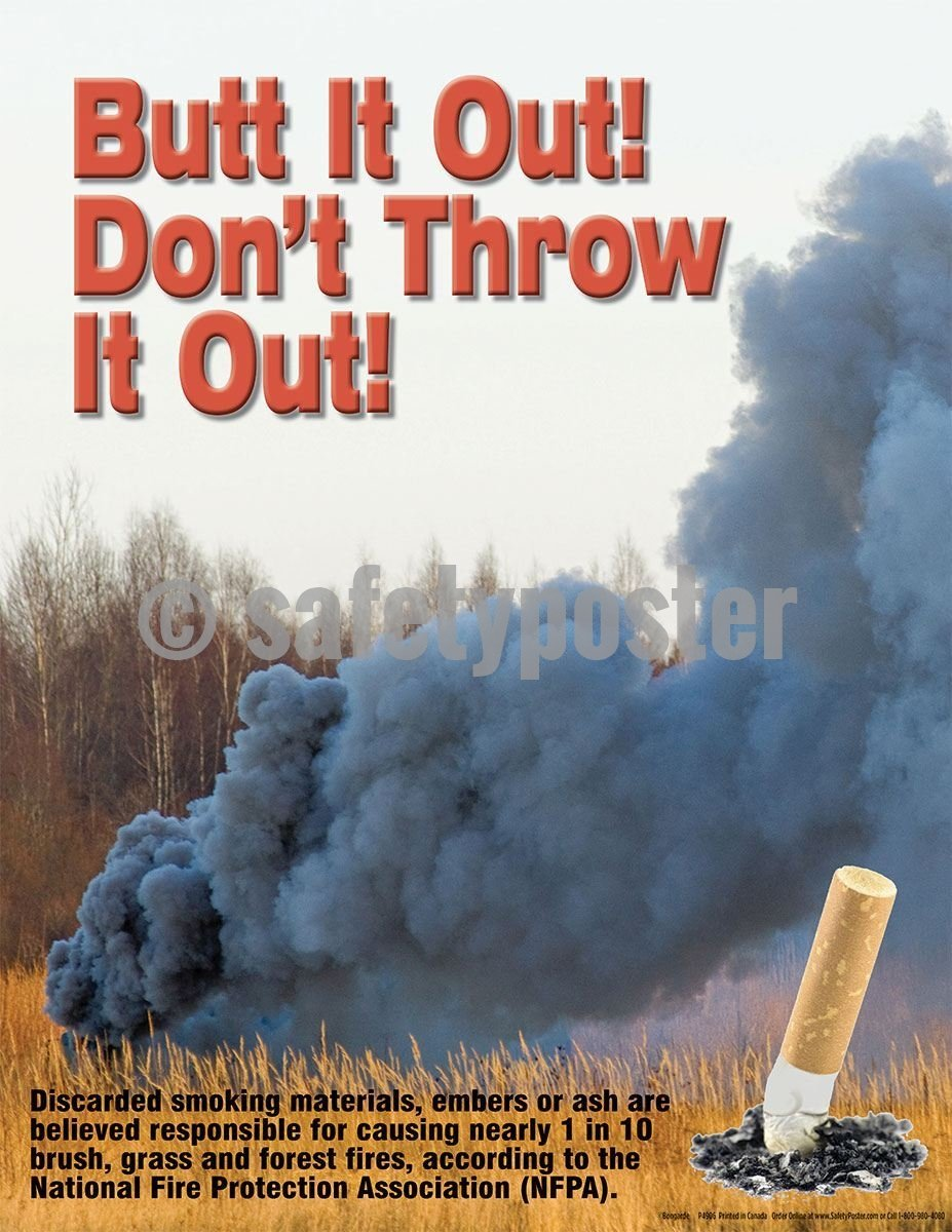 Safety Poster - Butt It Out! Don't Throw It Out! - safetyposter.com