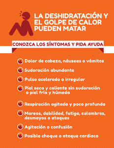 Heat Stroke Or Exhaustion Can Kill - Spanish Safety Poster