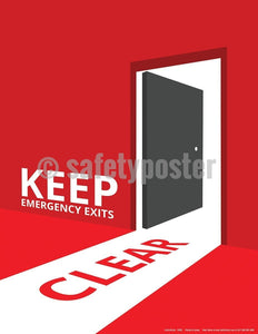 Safety Poster - Keep Emergency Exits Clear - safetyposter.com