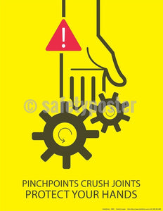 Safety Poster - Pinchpoints Crush Joints Protect Your Hands - safetyposter.com