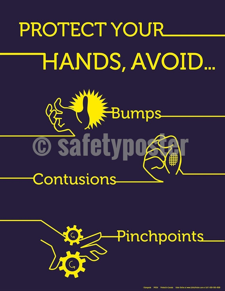 Safety Poster - Protect Your Hands Avoid Bumps Contusions Pinchpoints - safetyposter.com