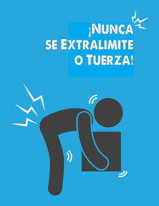 Never Over Reach Or Twist - Spanish Safety Poster