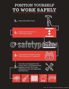 Safety Poster - Position Yourself To Work Safely (Black-Red) - safetyposter.com