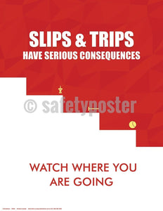 Safety Poster - Slips & Trips Have Serious Consequences Watch Where You Are Going - safetyposter.com