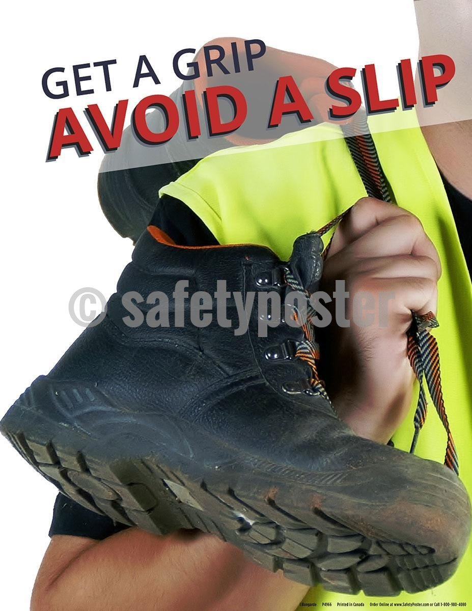 Safety Poster - Get A Grip Avoid A Slip (Boots) - safetyposter.com