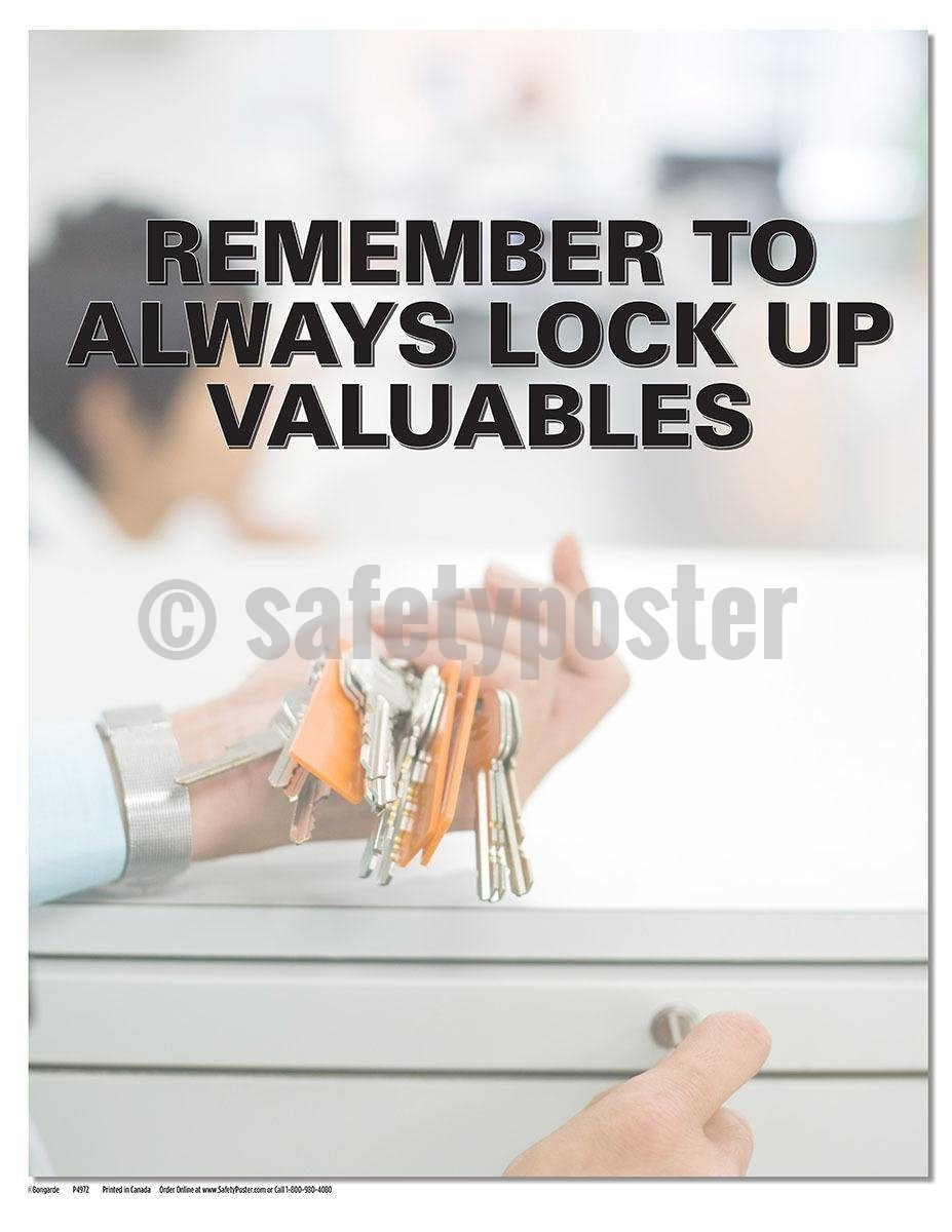 Safety Poster - Remember To Always Lock Up Valuables - safetyposter.com