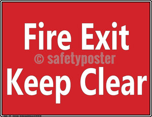 Safety Poster - Fire Exit Keep Clear - safetyposter.com