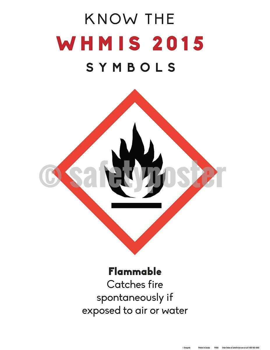 Safety Poster - WHMIS 2015 Flammable Symbol - safetyposter.com