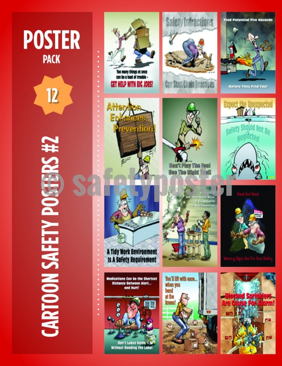 Safety Posters Pack - Cartoon Safety #2 - safetyposter.com