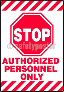 Stop Authorized Personnel Only - Floor Sign Adhesive Signs