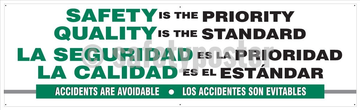 Safety Is The Priority Quality Standard - Banner (Spanish Bilingual) Motivational Banners