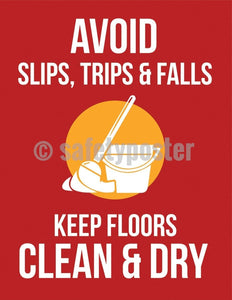 Safety Poster - Avoid Slips Trips & Falls (Red) - safetyposter.com