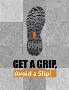Safety Poster - Get A Grip Avoid A Slip (Gray) - safetyposter.com