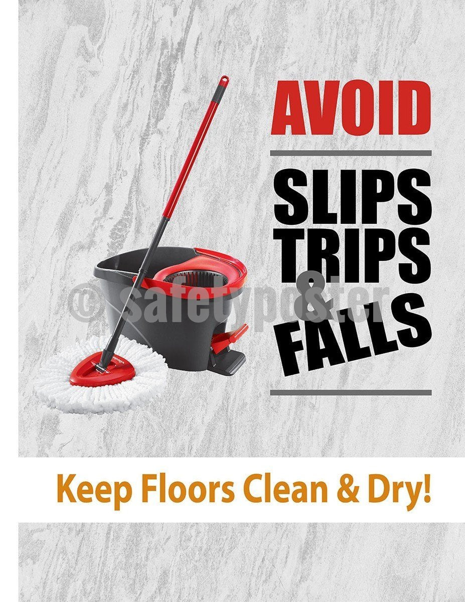 Safety Poster - Avoid Slips Trips & Falls (Gray) - safetyposter.com