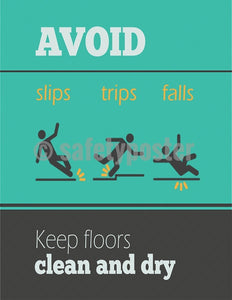 Safety Poster - Avoid Slips Trips & Falls (Teal) - safetyposter.com