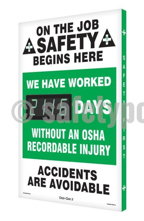 Digi-Day'®3 - Days Without An OSHA Recordable Injury - safetyposter.com
