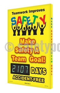 Teamwork Improves Safety _ Days Accident Free - Digi-Day 3 Digi-Day® Electronic Scoreboards