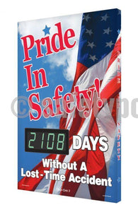 Pride In Safety _ Days Without Lost Time Accident - Digi-Day 3 Digi-Day® Electronic Scoreboards