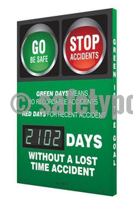 Go & Stop _ Days Without Lost Time Accident - Digi-Day 3 Digi-Day® Electronic Safety Scoreboards