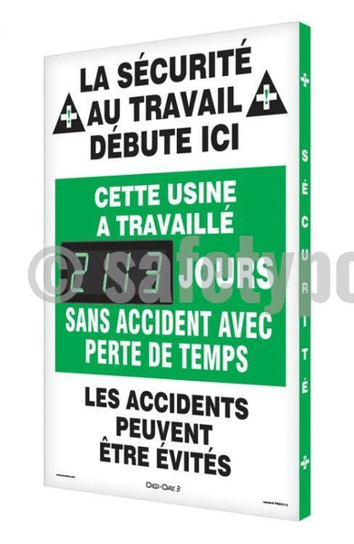 On The Job Safety Plant Has Worked _ Days Without Accident - Digi-Day 3 (Avail. In French) French