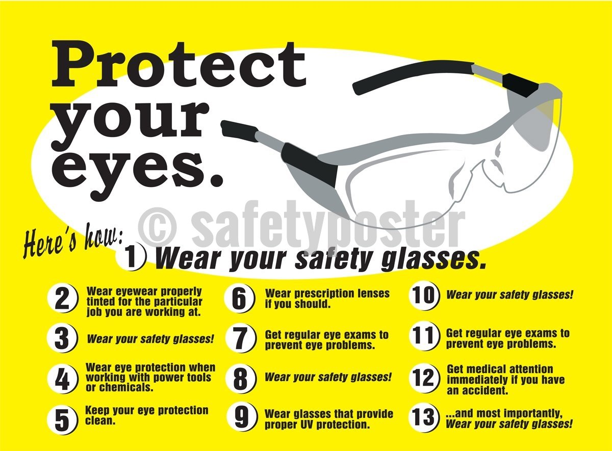 Protect Your Eyes Wear Safety Glasses - Poster Personal Protective Equipment