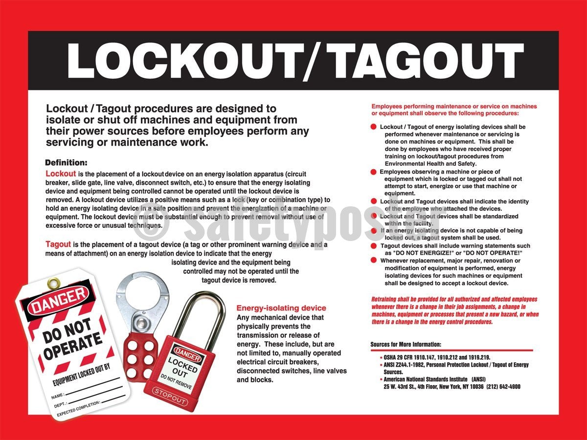 Lockout/tagout Information - Safety Poster Machine