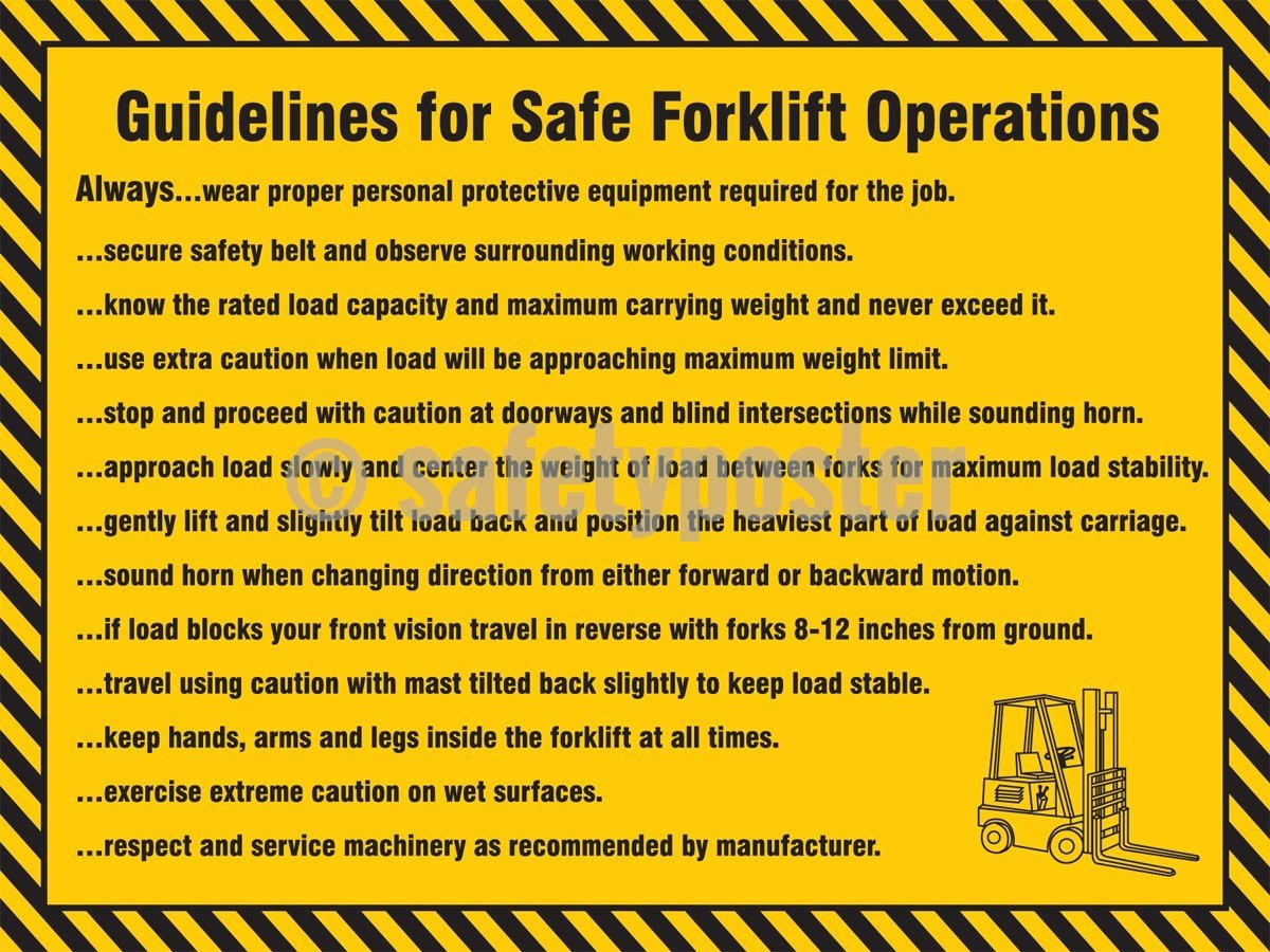 Guidelines For Safe Forklift Operations - Safety Poster Transportation