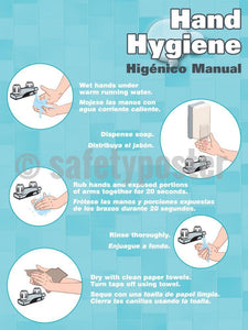 Hand Hygiene (Spanish Bilingual) - Safety Poster Health & Wellness