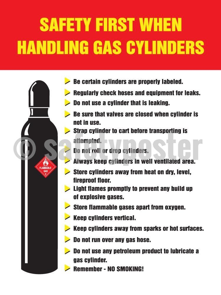 Safety First When Handling Gas Cylinders - Poster Chemical